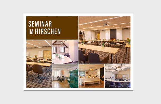 """Flyer """"Seminar Hirschen"""" / Landhotel Hirschen Erlinsbach und Weinhaus am Bach"""
