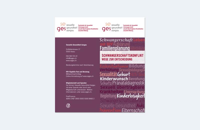 "Broschüre ""Schwangerschaftkonflikt"" / SEGES / Sexuelle Gesundheit Aargau"
