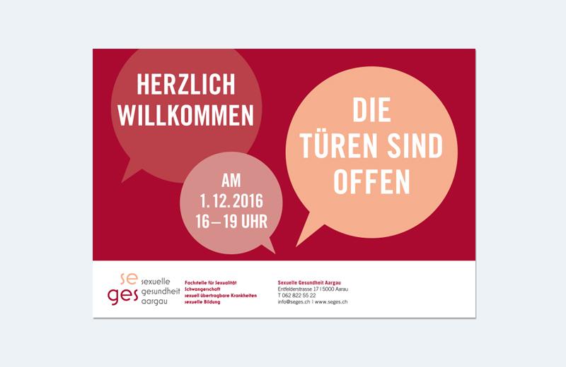 Einladungskarte der Fachstelle / SEGES / Sexuelle Gesundheit Aargau