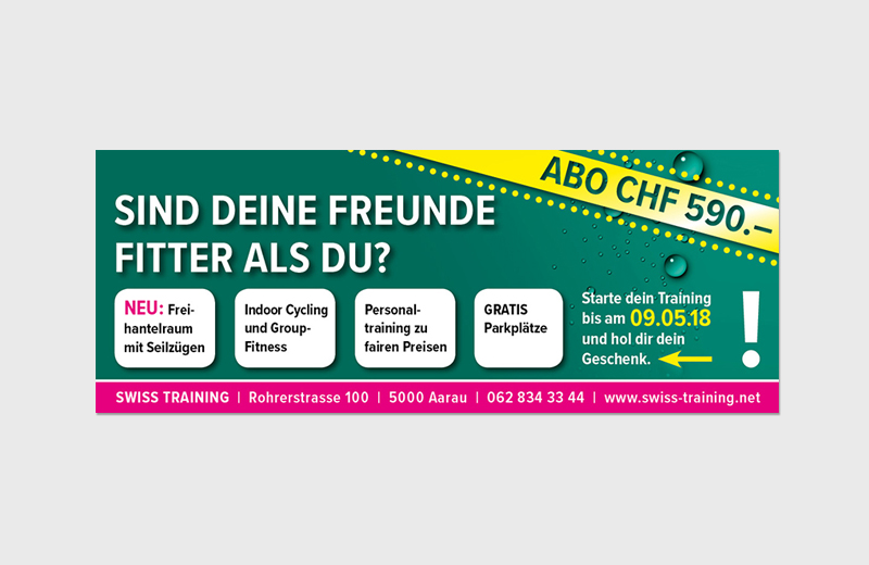 "Inserat & Facebook-Kampagne ""Frühlingsaktion"" / Swiss Training Aarau"