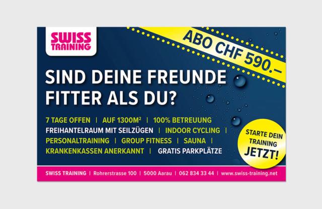 Spannrahmen-Sujet für Schaufenster BHF Aarau / Swiss Training Aarau